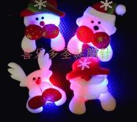 10pcs/lot, Flash plush brooch christmas led brooch badge Christmas gift christmas accessories, free shipping