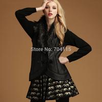 Women big suit collar PU fashion short design vest