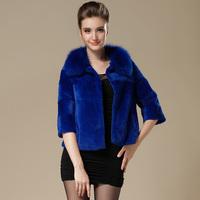 2014 rex rabbit fur coat fox fur short design three quarter sleeve women's fur coat female