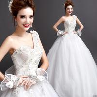 2014 BEST THE ANGEL WEDDING DRESS,new arrival One shoulder flower princess bride of luxury lace strap wedding dress A9228#