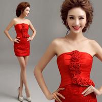 2014 BEST THE ANGEL ,new arrival Red lace flower evening dress short design evening dress  A2867#