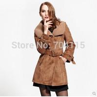 Women chamois compound medium-long slim faux fur coat