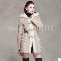 Fur hooded  Women medium-long outerwear two sides faux
