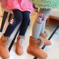 2014 100% cotton thick winter child girl warm legging trousers skinny pants kids leggings 90-150cm height baby girls