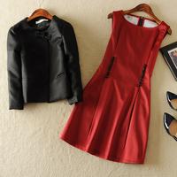 Free shipping! European 2014 set women's high quality elegant slim coat one-piece dress twinset