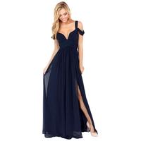 Designer chiffon long pleated deep V-neck Elegant  Max dress luxurious cocktail evening dress Plus size XS-XXL FC027