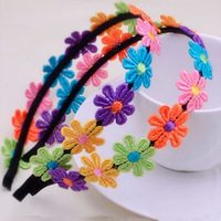 Garishness embroidery flower hair bands hair pin headband baby child hair accessory hair accessory gift