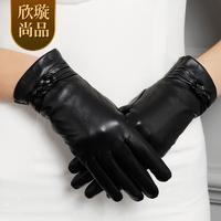 Warm genuine leather gloves women's sheepskin gloves women's winter thermal plus velvet thickening st6036