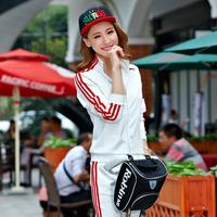 Spring and autumn fashion stand collar female set casual sweatshirt slim sports school uniform