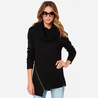 XS-XXL 2014 New Autumn Women's Sweaters Fashion Street Coarse Knitted Pullover Tops Outerwear Metal Zipper Turtleneck Sweaters