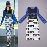 Free shipping! European Autumn new arrival 2014 women's fashion color block print slim medium-long one-piece dress