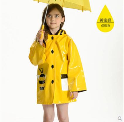 Fashion cute cartoon bee ladybug quality thickening child raincoat rain ponchos kids rainwear trench coat chubasquero for girls(China (Mainland))
