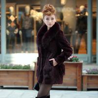 2014 Fashion Women Winter Jacket Natural Fur Jacket Full Leather Rex Rabbit Fur Coat Fox Fur Collar Overcoat Women 203p1290