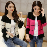 2014 set LA CHAPELLE small sweater female sweater color block decoration ccdd mohair cardigan