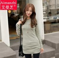 Plus size women's 2014 autumn stripe cotton medium-long 100% basic shirt long-sleeve t-shirt