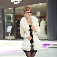 Fashion Fur Coat Women Full Leather Rabbit Fur With Raccoon Fur Collar Jacket Women Coat Natural Fur Outerwear 340 p780