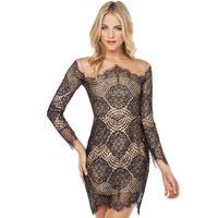 Luxury lace gauze patchwork lining long-sleeve o-neck sexy dress elegant evening dress Plus size XS-XXL FC031
