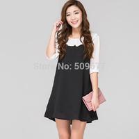 2014 new style Plus size maternity clothing summer fashion cute turn-down collar half sleeve chiffon one-piece dress top