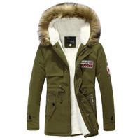 Hop quality men winter hooded coat fur collar plus size winter wadded men's winter jacket outerwear 3 colors M-4XL