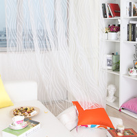 White flowers all-match finished yarn curtain striped window screening width: 1m,height :2.7m free shipping