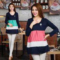 2014 New M-XXL Plus Size Long Sleeve Maternity Tops Mini Dress Clothes for Pregnant Women Motherhood Cotton Shirt FreeShipping