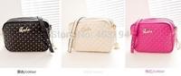 New 2014 Fashion Women Shoulder Bag Solid soft  PU bag Brand design women bag small femme Rivet messenger bag rose black  WD7