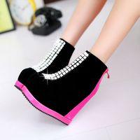2014 fashion women's sweet color block rhinestone back zipper wedges 14cm high heeled Autumn sexy scrub short boots SJ968-1