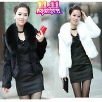 Free shiiping  2014 women's fur coat mink hair fox fur black and white long-sleeve Women's Clothing
