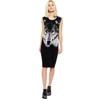 Wolf  portrait print o-neck sleeveless savager casual dress women's fashion tank dress Plus size XS-XXL FC030