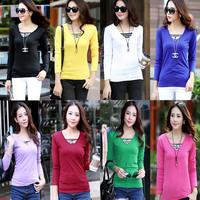 2014 Autumn and Winter Women Slim Basic Shirt V-neck Stripe Button Long-sleeve T-shirt Blouse