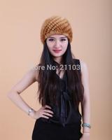 Female plus size winter autumn skullies beanies Mink fur hat hair spiral mink hair pineapple hat  R96