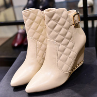 hot sale 2014 winter luxury brand boots black/Beige genuine leather high boots cutout leather gladiator chain boot snow boots