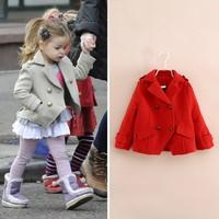 Autumn winter  new arrival 2014 fashion kids woolen trench girl child girl's woolen coat children's clothing AB340