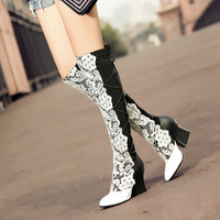 2014 Autumn and winter boots over-the-knee  gaotong female genuine leather pointed toe thick heel cowhide fashion