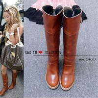 2014 New arrival winter Riding vintage buckle women motorcycle boots high-leg,cowhide leather motorcycle boots