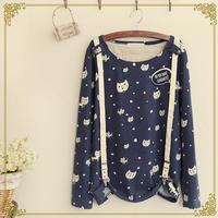 Autumn women's kitten print o-neck long-sleeve 100% cotton suspenders t-shirt