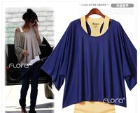 2014 New fashion Women's plus size Loose Casual Short Sleeve T-Shirts Women Batwing Sleeve Tops Tank + T shirt twinset