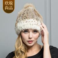 2014 rabbit fur hat female winter raccoon fur ball fur hat winter g146