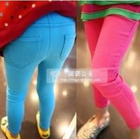 Children's clothing 2014 female child autumn candy color slim pencil pants legging faux denim child skinny pants