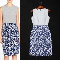 [REAL SHOT] 2014 Fashion Stripe Patchwork Print  Vest Dress O-neck Sleeveless Slim One-piece Dress F-0672