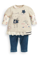 2014 autumn long sleeve girls clothing sets kitty shirts and pants outfits for baby toddler
