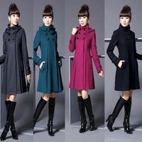 plus size casacos femininos new 2014 women coat  fashion women's slim wool blended bouble-breasted winter women woollen coat