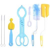 7 set bottle brush nylon sponge nipple brush straw brush baby rotating baby products