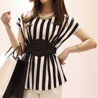 2014 rhombus patchwork bandage black and white vertical stripe o-neck color block batwing sleeve chiffon short-sleeve shirt