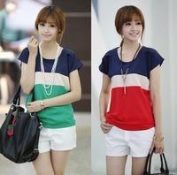 2014 Summer Fashion women's short sleeve t-shirt women o-neck colorant match loose chiffon shirt woman blouse chiffon Red green