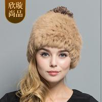 2014 winter rabbit fur hat female autumn and winter rex rabbit knitted hat fur hat g145