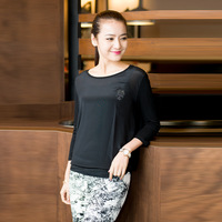 High quality plus size silk LONG SLEEVE shirt 2014 autumn cool silk elegant half-sleeve shirt free shipping autumn basic shirt