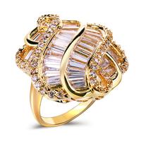 2014 Hot Sell Women Luxury 18K Glod Plated Flower Ring AAA Cubic Zirconia Rings CZ Allergy Free Lead & Nickel Free Luxury Gift
