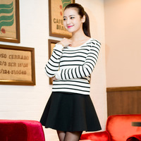 New arrival Plus size vintage white and black stripe sweater shirt plus size 2014 autumn fresh basic sweater knitted shirt