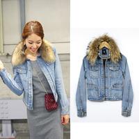 Denim jacket women's casual turn-down collar coat female fur collar the disassemblability denim outerwear